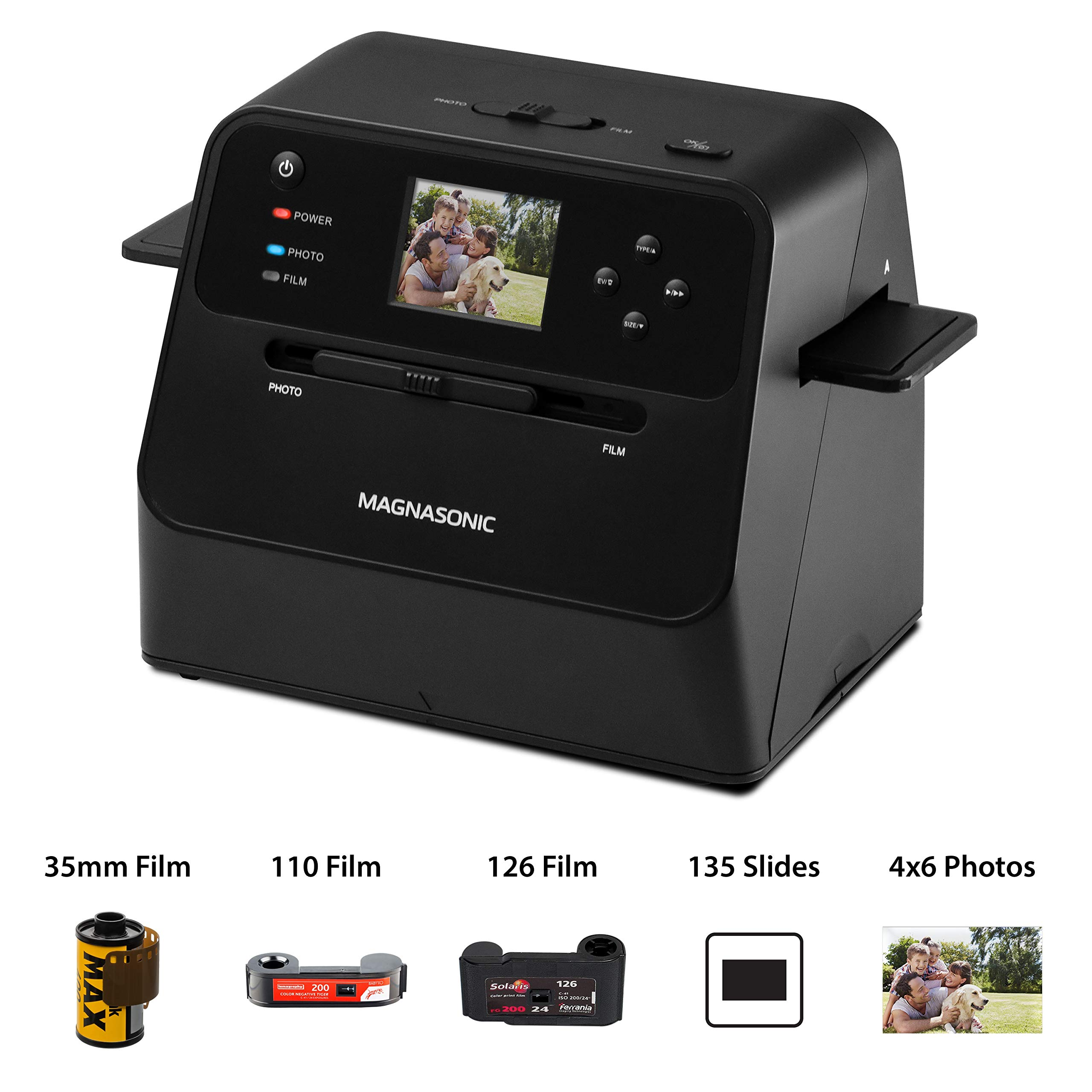 Magnasonic All-in-One Film & Photo Scanner, 14MP Resolution, Converts 4x6 Photos, 35mm/110/126/Super 8 Film & 135 Slides into Digital JPEGs, Vibrant 2.4'' LCD Screen, Fast Scanning (FS60)