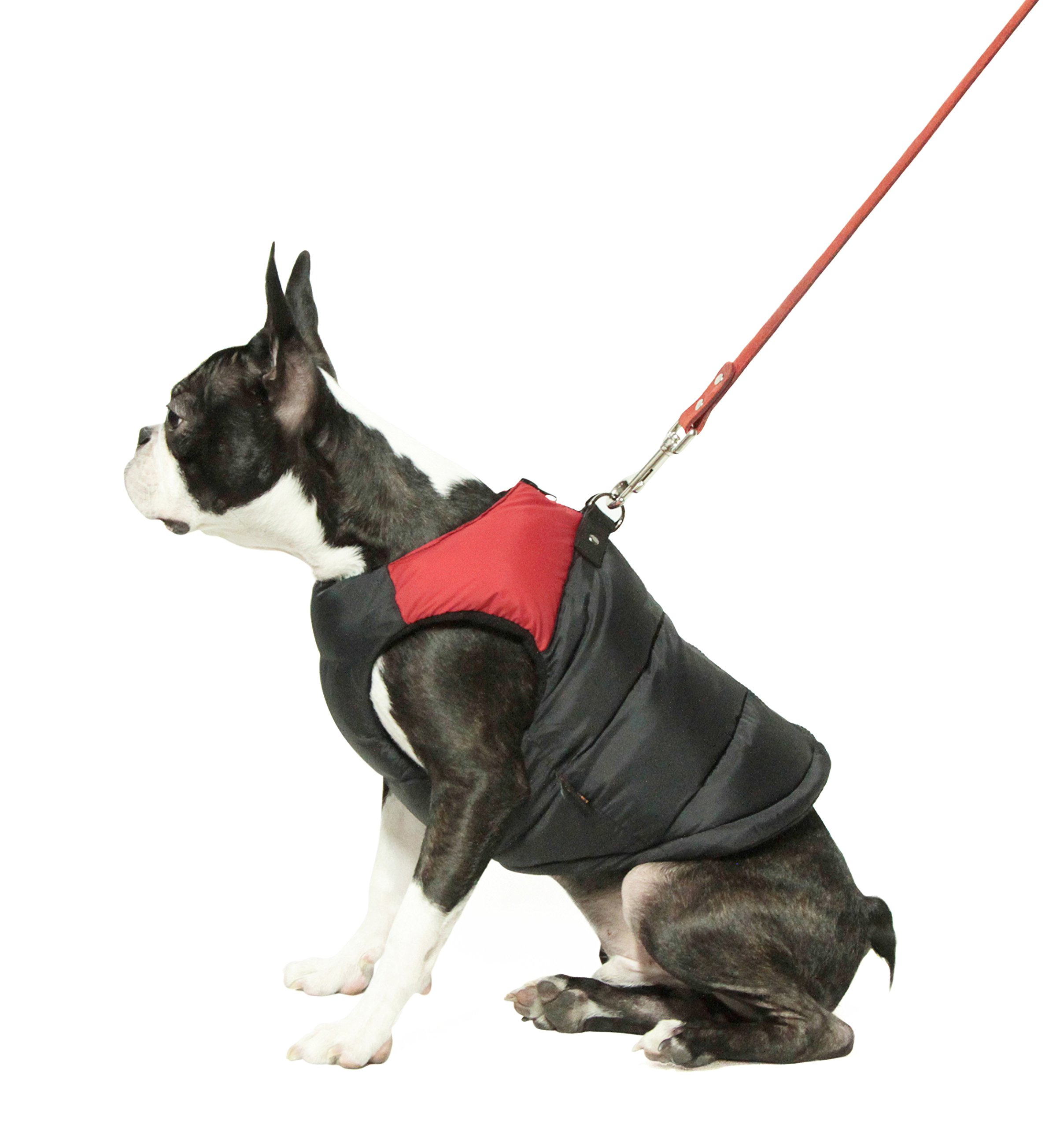 Gooby Padded Cold Weather Vest for Small Dogs with Safe Fur Guard Zipper Closure, Red, Medium by Gooby (Image #3)
