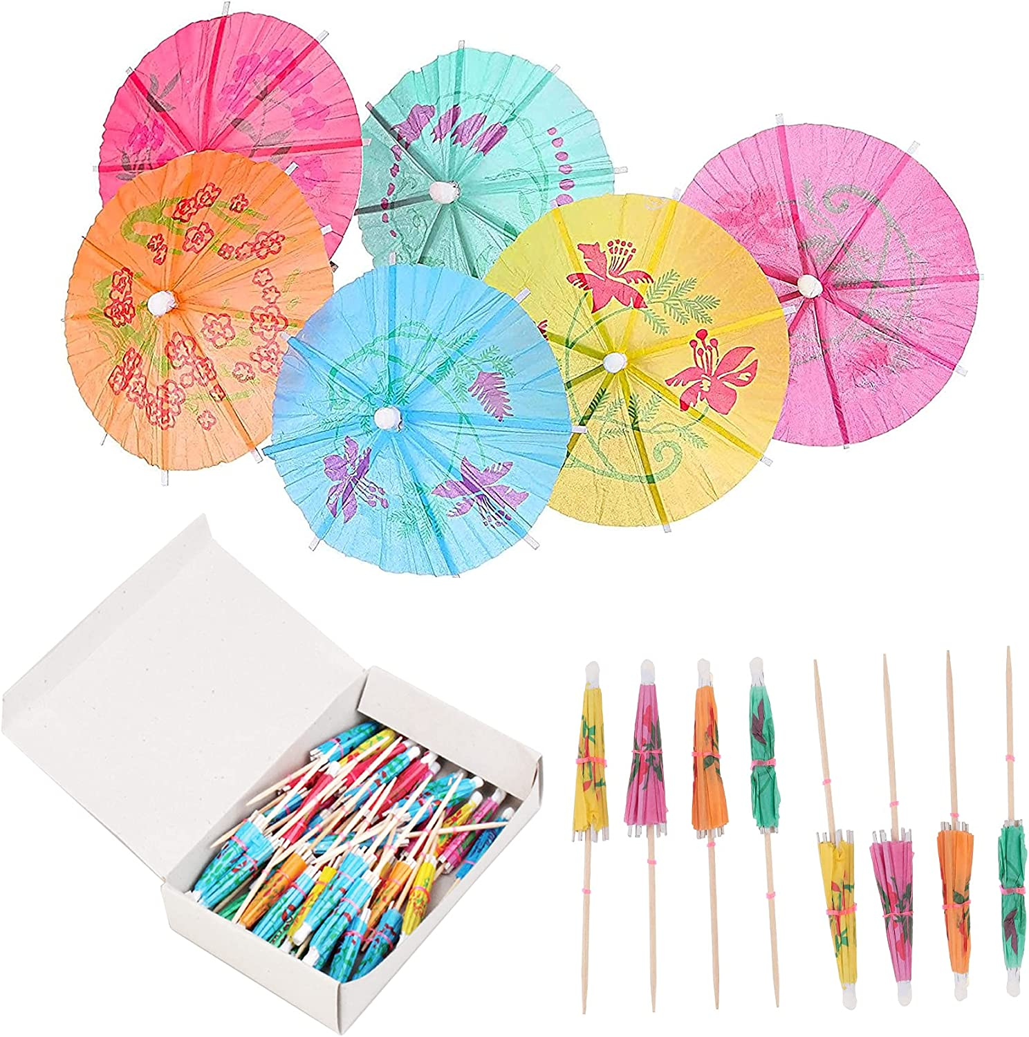 Cocktail Drink Umbrella Picks Umbrellas Toppers Decorative 100 Pcs Cocktail Parasols Assorted Umbrella Parasol Colorful Paper Cupcake Cocktail for Tiki Bar Restaurants or Buffets Party Supplies
