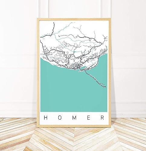 Homer Alaska Map Area.Amazon Com Homer Ak Map Art Print Map Of Homer Alaska Series Ii