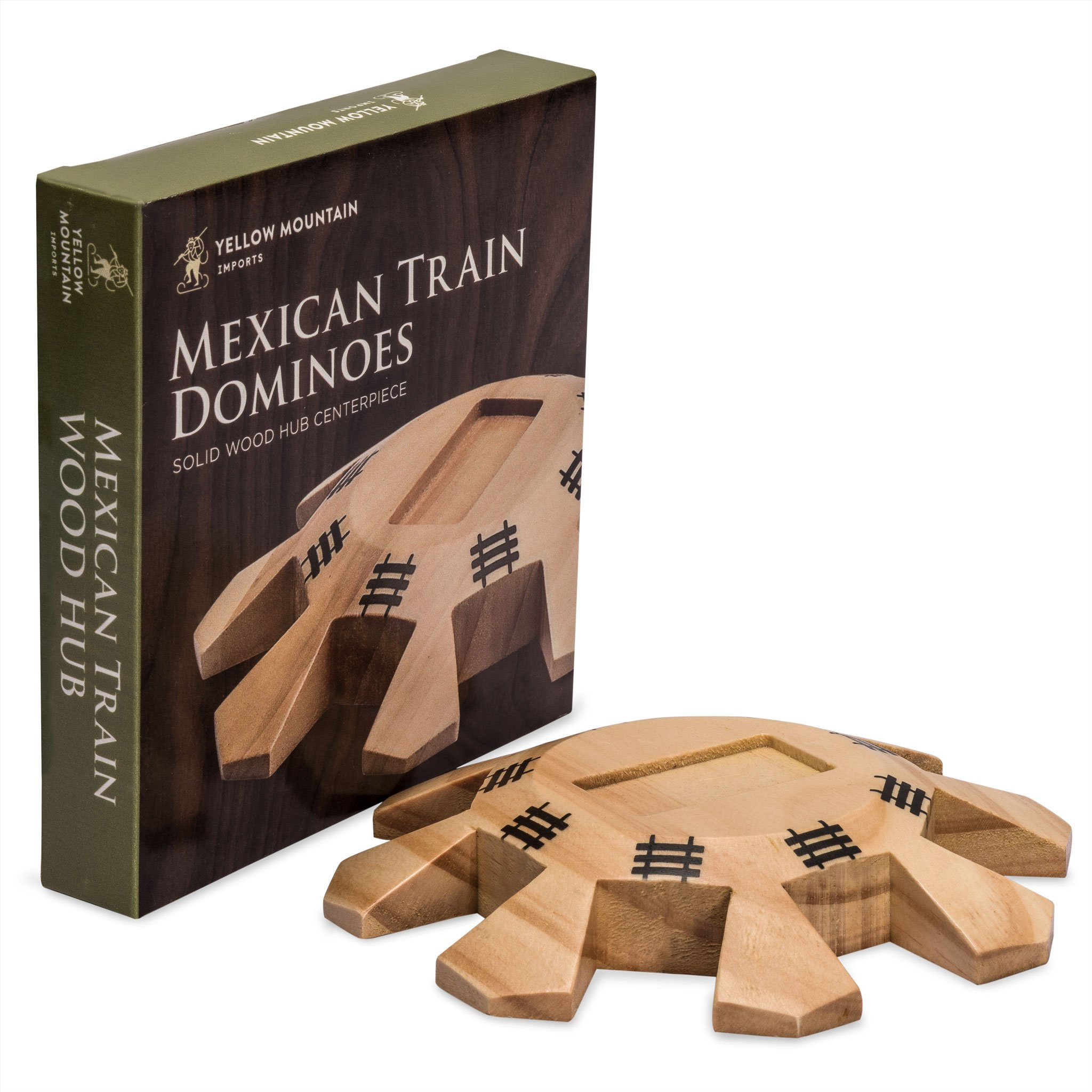 Yellow Mountain Imports Wooden Hub Centerpiece for Mexican Train Dominoes - Crafted from Solid Wood