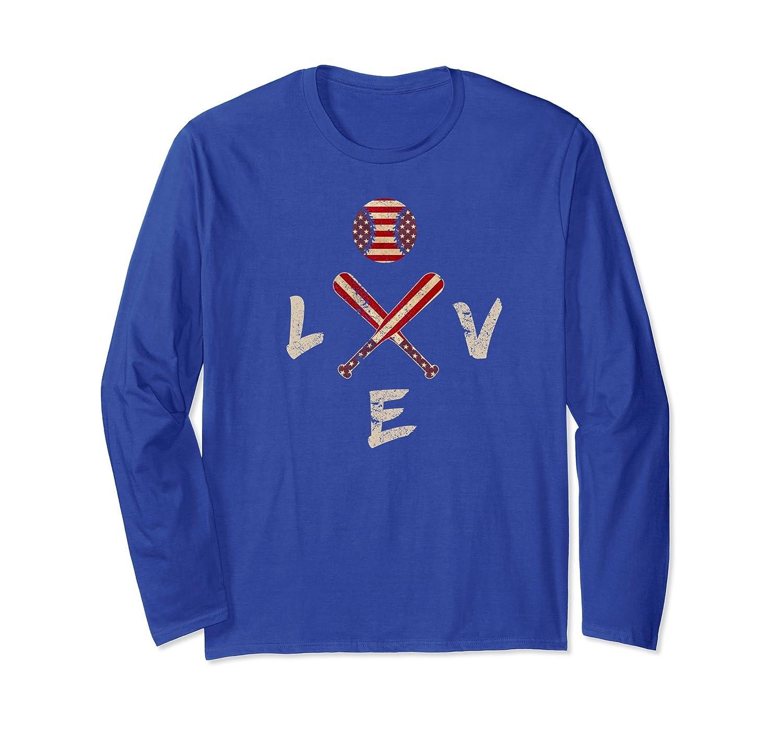 American Flag Baseball Long Sleeve Tee Bat and Balls-mt
