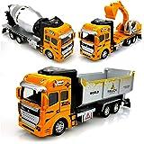 PARTEET Kid's Metal Die Cast Pull Back Trucks Toy - Set of 3 (Multicolour)