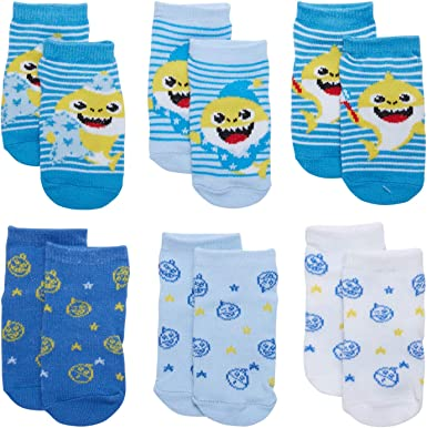 Nickelodeon Boys/' /& Girls/' Baby Shark Low Cut Socks 6 Pack