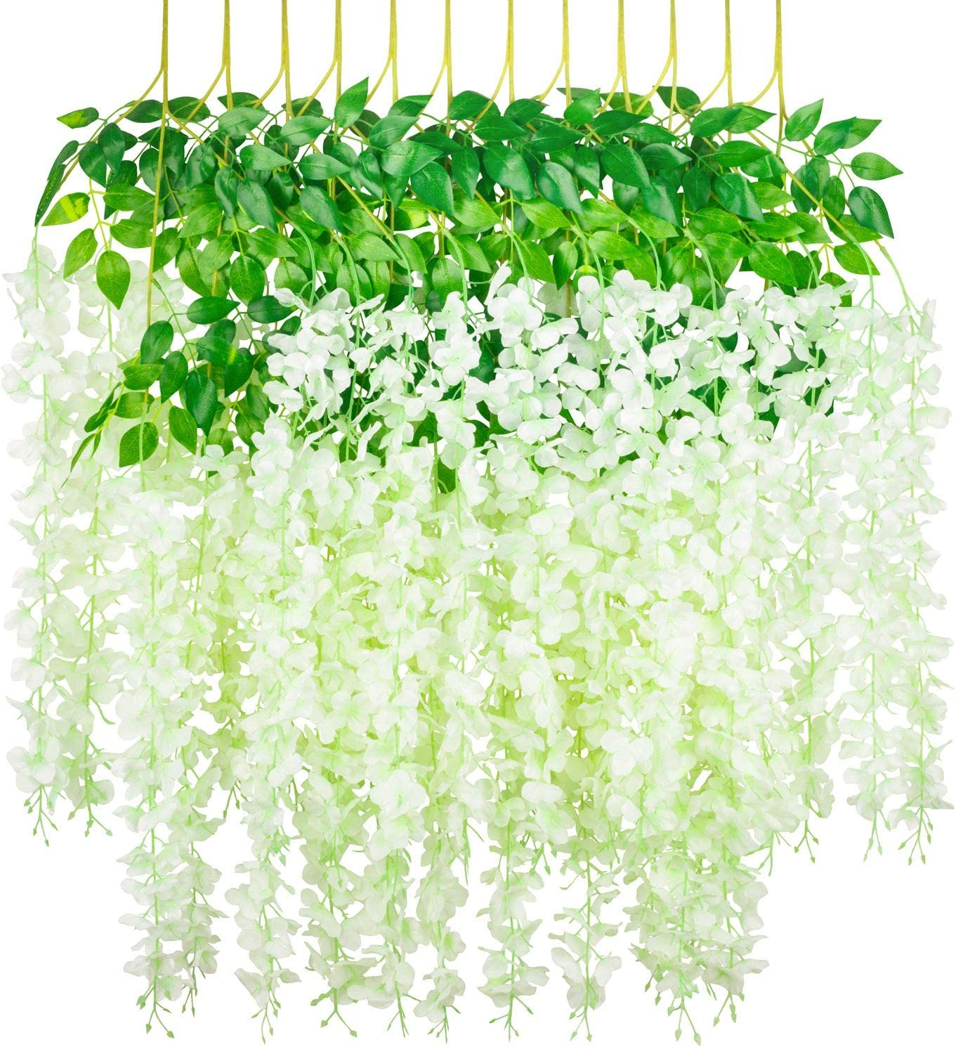 Myselfly 12 Pieces Artificial Silk Wisteria Flower Hanging Silk Vine Rattan Fake Bush Flower for Home Party Wedding Garden Outdoor Greenery Decoration 3.67 Feet (Milk White)