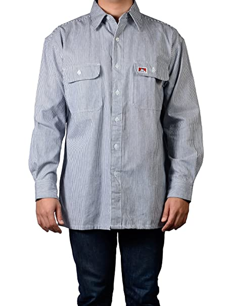 9cdcd88bbcf Ben Davis Men s Long Sleeve Striped Button-Up Work Shirt at Amazon Men s  Clothing store
