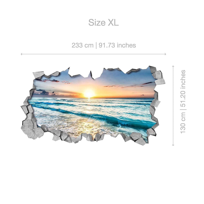 87 x 48 cm, 3D Ciudad SCI-FI Efecto Pared Rota Pegatinas Decoraci/ón Hogar Papel Pintado Efecto 3D