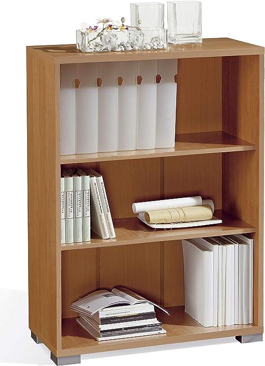 Miroytengo Estanteria librería Baja 3 baldas Color Cerezo Salon despacho Oficina habitacion 101x75x33