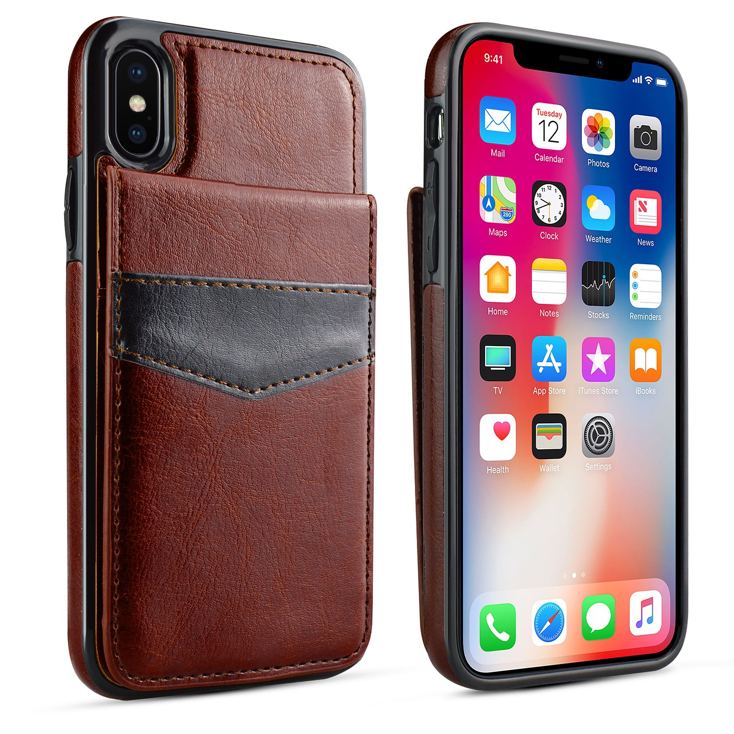 iPhone X Case, iPhone X Card Holder Case, LuckyBaby Premium Leather Folio Flip iPhone X Wallet Case with Credit Card Slots Shock-Absorbing Protective Case for iPhone X / iPhone 10 (2017) - Brown by LuckyBaby (Image #2)