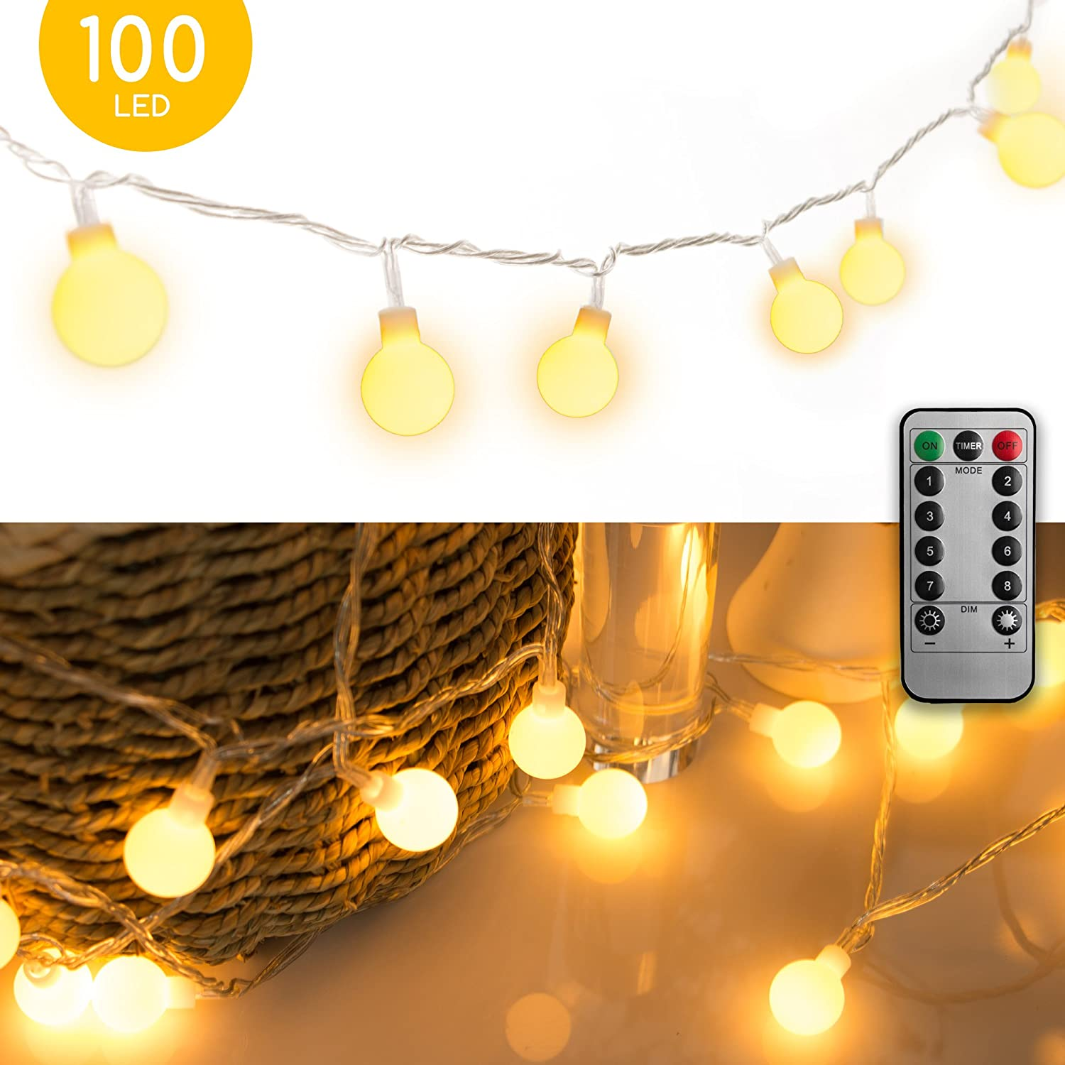 10M 100 LED Globe String Lights Fairy Twinkle Waterproof Light String with Remote & 8 Modes Controller, Transparent String Cable-for Festoon Party/Garden/Christmas/Patio/Wedding Decor, Warm White MineTom