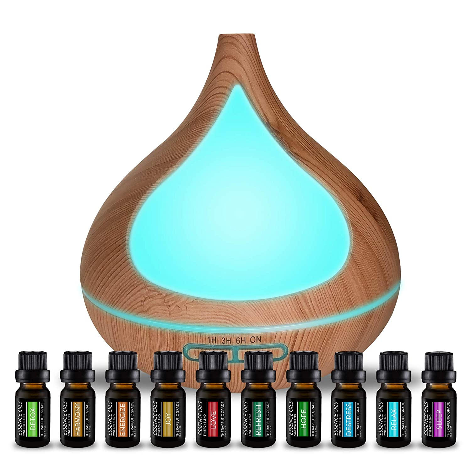 Aromatherapy Diffuser & 10 Essential Oil Synergy Blend Set