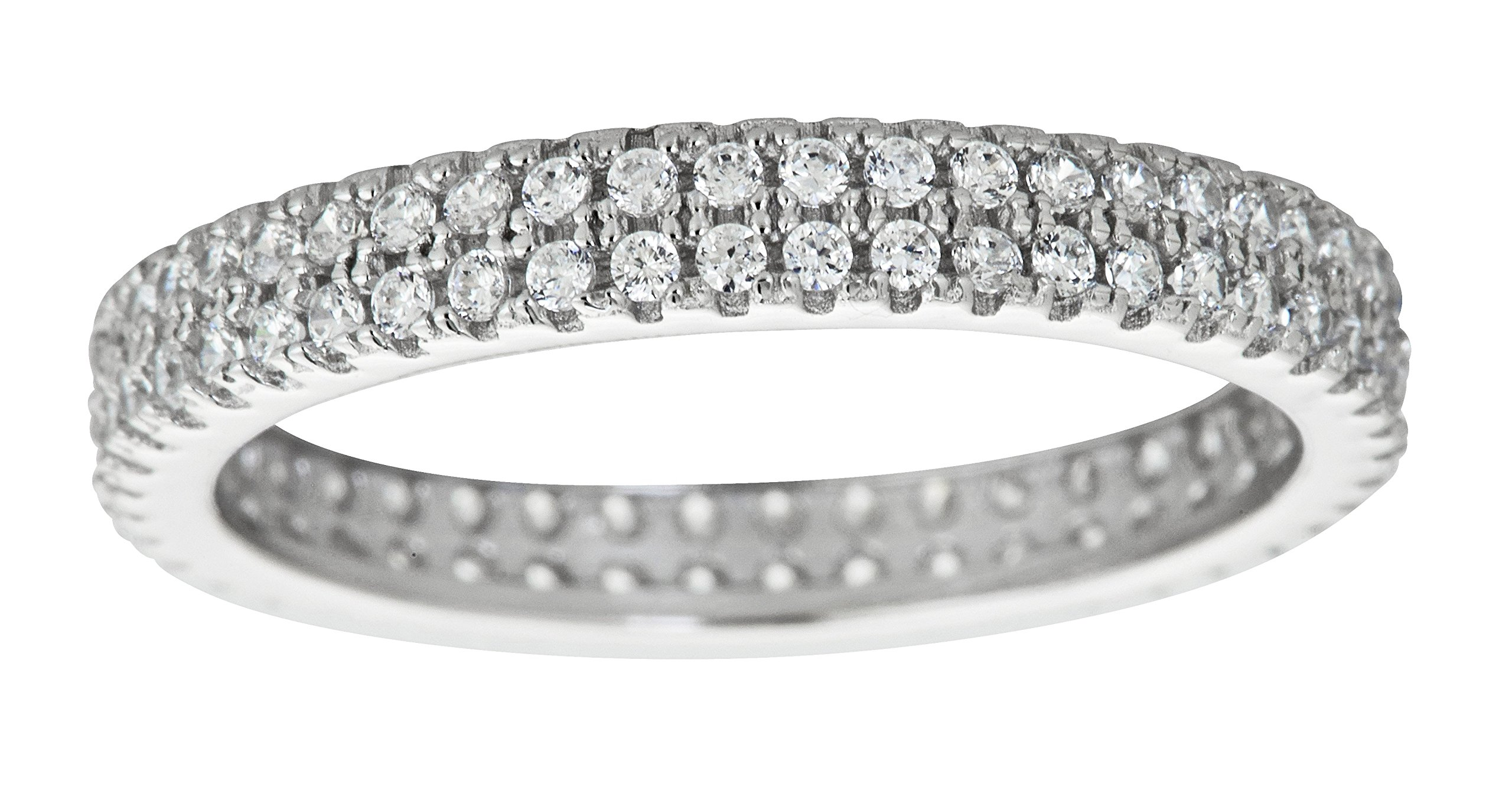 Sterling Silver 2 Row Concave Micropave Eternity Band Stackable Ring
