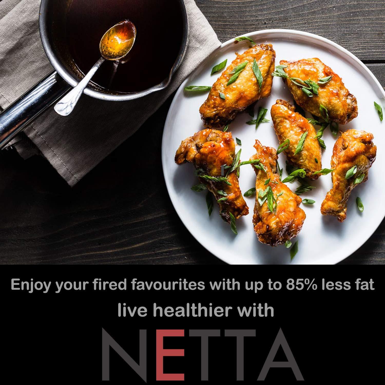 NETTA- Freidora Sin Aceite Con Aire Caliente con Control De Temperatura - Negro Airfryer, 3,5 Litros