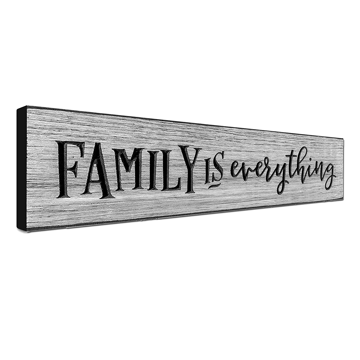 LACOFFIO Family Wall Art Decor Sign 16 x 3.5 Motivational Home Wall Art Decor Plaque Rustic Worn Grey Inspirational Quotes Wall Hanging Sign Family is Everything