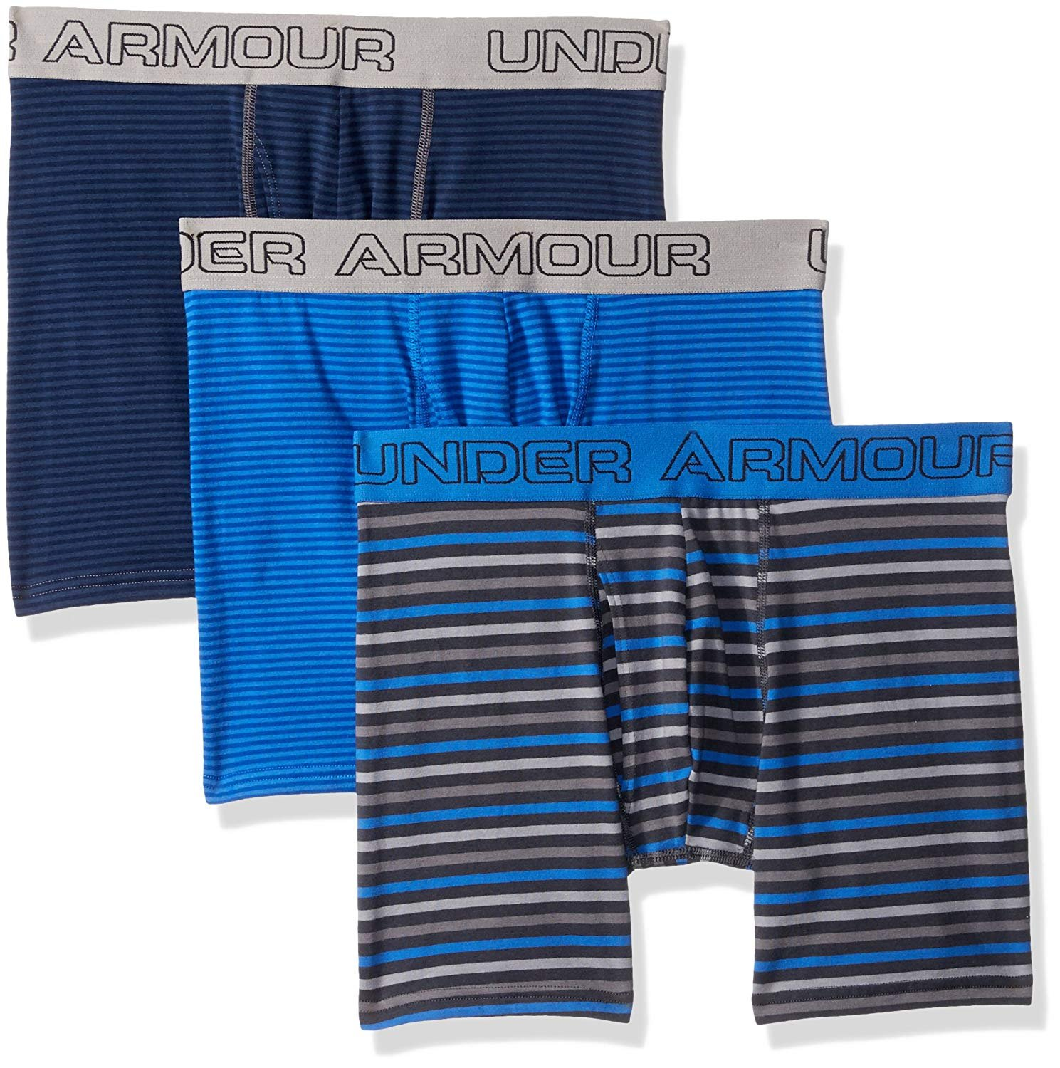 "Under Armour Men's Charged Cotton Stretch 6"" Boxerjock 3-Pack (Mediterranean, XX-Large)"