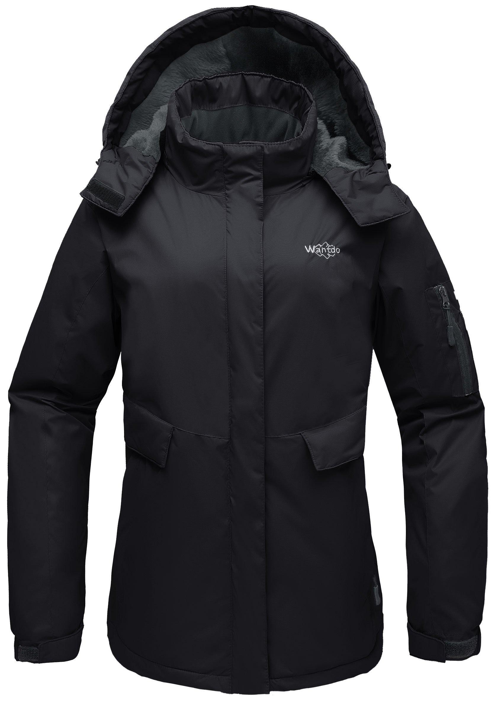 Wantdo Women's Waterproof Warm Snow Jacket Hooded Cotton Padded Winter Outwear Raincoat Windbreaker for Skiing(Black, Medium)