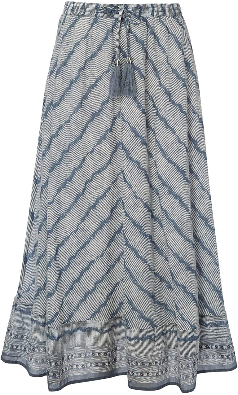 Ladies Long Stripe Cotton Hippy Festival Casual Holiday Floaty Pull On Winter Skirts Roman Originals Women Chevron Print Maxi Skirt