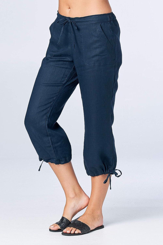 e737816e03dd9e Mariyaab Women's Wide Leg Casual 100% Linen Capri Pants with Drawstring and Leg  tie at Amazon Women's Clothing store: