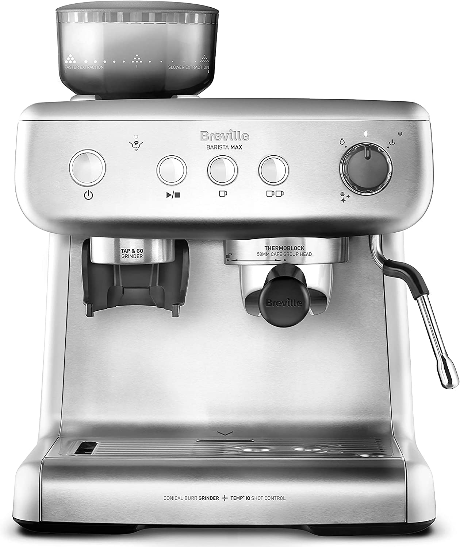 Breville Barista Max VCF126X - Máquina de café expreso, totalmente automática con molinillo integrado y bomba italiana de 15 bares: Amazon.es: Hogar