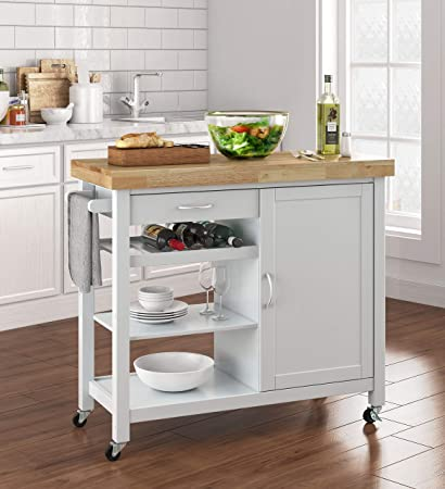 Choochoo Rolling Kitchen Island Portable Kitchen Cart Wood Top Kitchen Trolley With Drawers And Glass Door Cabinet White Wine Shelf Towel Rack Kitchen Islands Carts Home Kitchen Lpracing Com