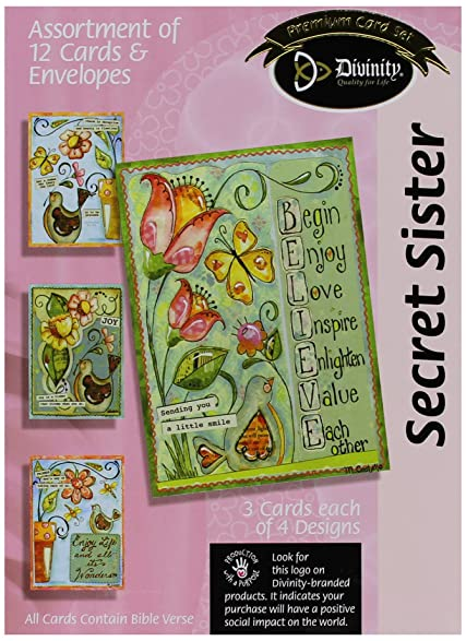 Amazon divinity boutique greeting card assortment secret divinity boutique greeting card assortment secret sister flowers and birds 21201n m4hsunfo Gallery