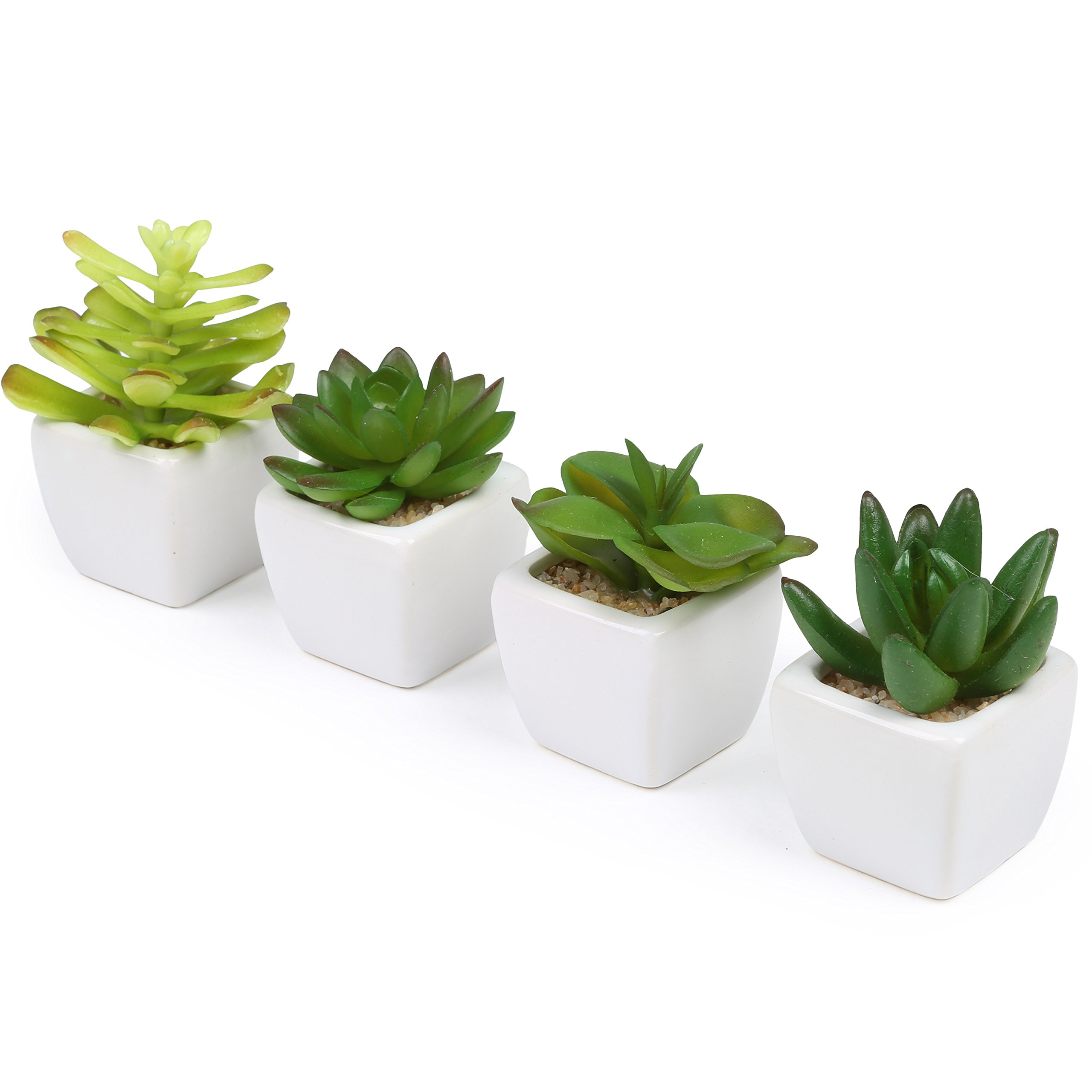 Set of 4 Decorative Mini Artificial Succulents / Plastic Synthetic Plants with White Ceramic Planter Pots