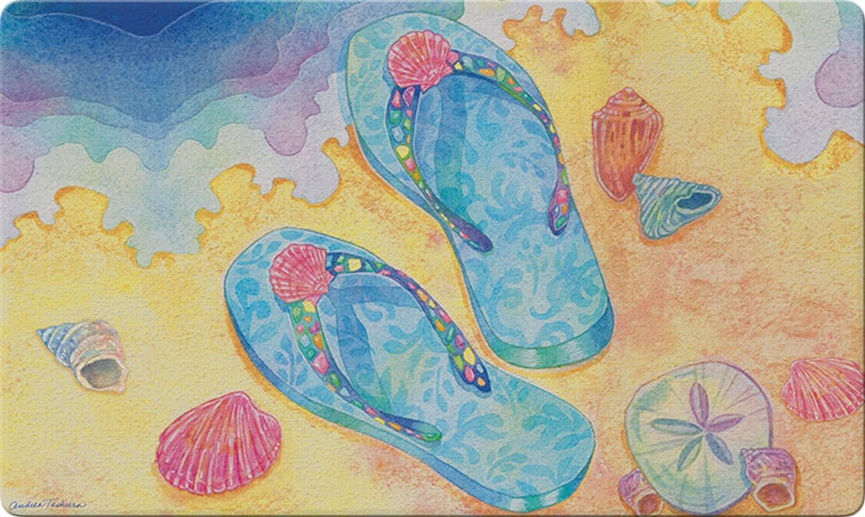 Toland Home Garden Beach Flip Flops 18 x 30 Inch Decorative Floor Mat Summer Sandal Doormat