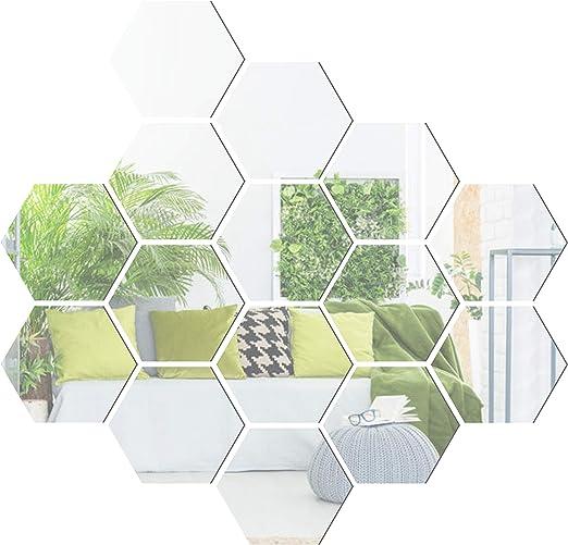 Amazon Com Yusylvia 12pcs Hexagonal 3d Acrylic Mirrors Wall Stickers Home Decor Living Room Diy Modern Art Mirror Wall Mural Decoration Large Silver Furniture Decor