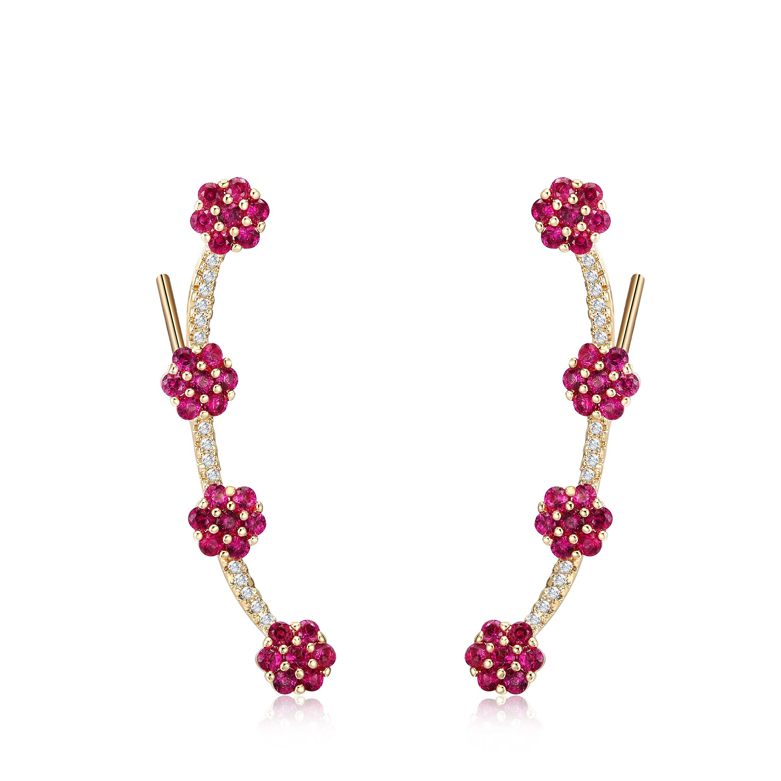 Mevecco Womens Girls Ear Crawler Climber Flower CZ Crystal Ear Wrap Cuffs Earrings Sweep Stud Earring Pin Jewelry-Flower-Gold