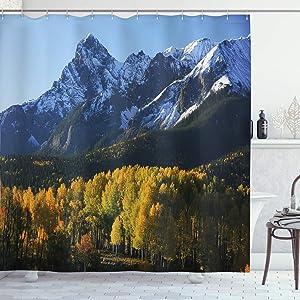 Ambesonne Landscape Shower Curtain, Snow Village Mountain Retreat in Colorado Park Pine Region Peak Photography Print, Cloth Fabric Bathroom Decor Set with Hooks, 70