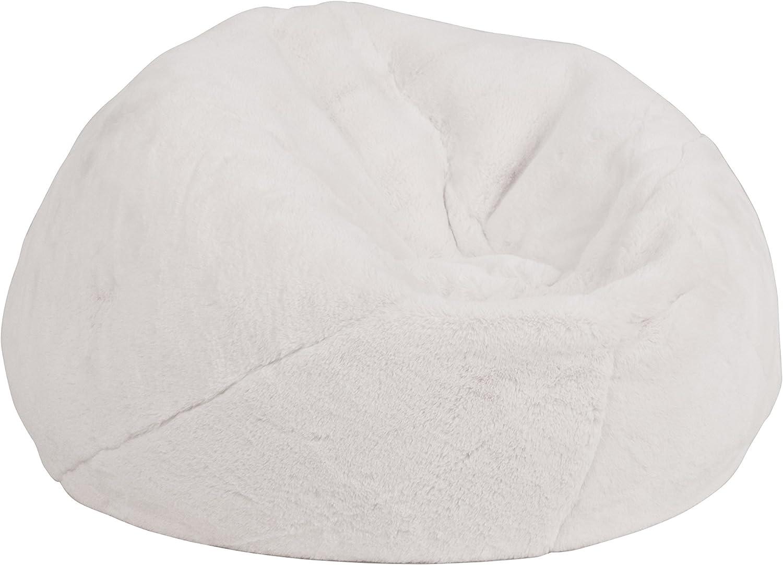 Flash Furniture Small White Furry Kids Bean Bag Chair