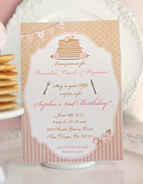 Amazon.com: Pancakes and Pajamas Birthday Party Invitation - Pink ...