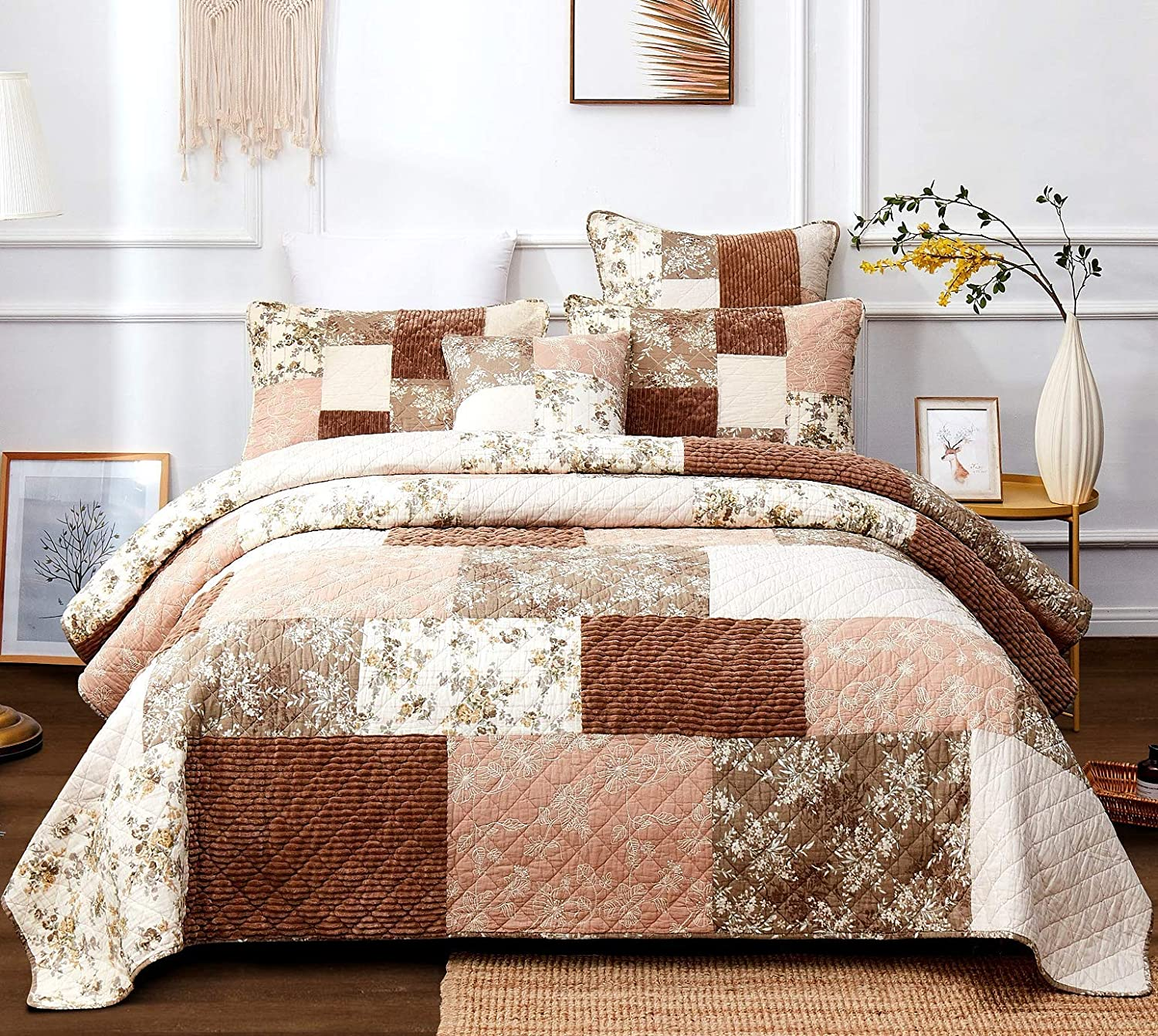 DaDa Bedding Dusty Tea Rose Cotton Patchwork Bedspread - Soothing Corduroy Bohemian Mauve Pink & Chocolate Brown Floral - Soft Quilted Coverlet Set - California King - 3-Pieces