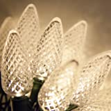 25 C9 Warm White Faceted LED Indoor/Outdoor Christmas String Lights - Green Wire, Outdoor Christmas Decorations