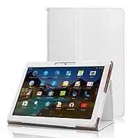 """XIDO Funda para BEISTA K107 Tablet de 10.1 Pulgadas / YUNTAB K107 K17 Tablet 10.1 - Slim Fit Folio Funda Cubierta Carcasa Caso Case con Stand Función para SANNUO Tablet de 10.1"""" / LNMBBS 3G Tablet de 10.1 Pulgadas / Tagital Tableta / ibowin® P130 / M130 10.1 inch, Lnmbbs 3G/WIFI Tablet 10, XIDO Z120, Excelvan K107 10.1 Inch, Sky Castle 10.1, Blanco"""