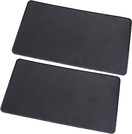 SING F LTD 2X Silica Gel Anti Slip Car Dashboard Mat Antiskid Phone Pad Anti Slide Coin Key Mats 27x15x0.2cm Black Washable