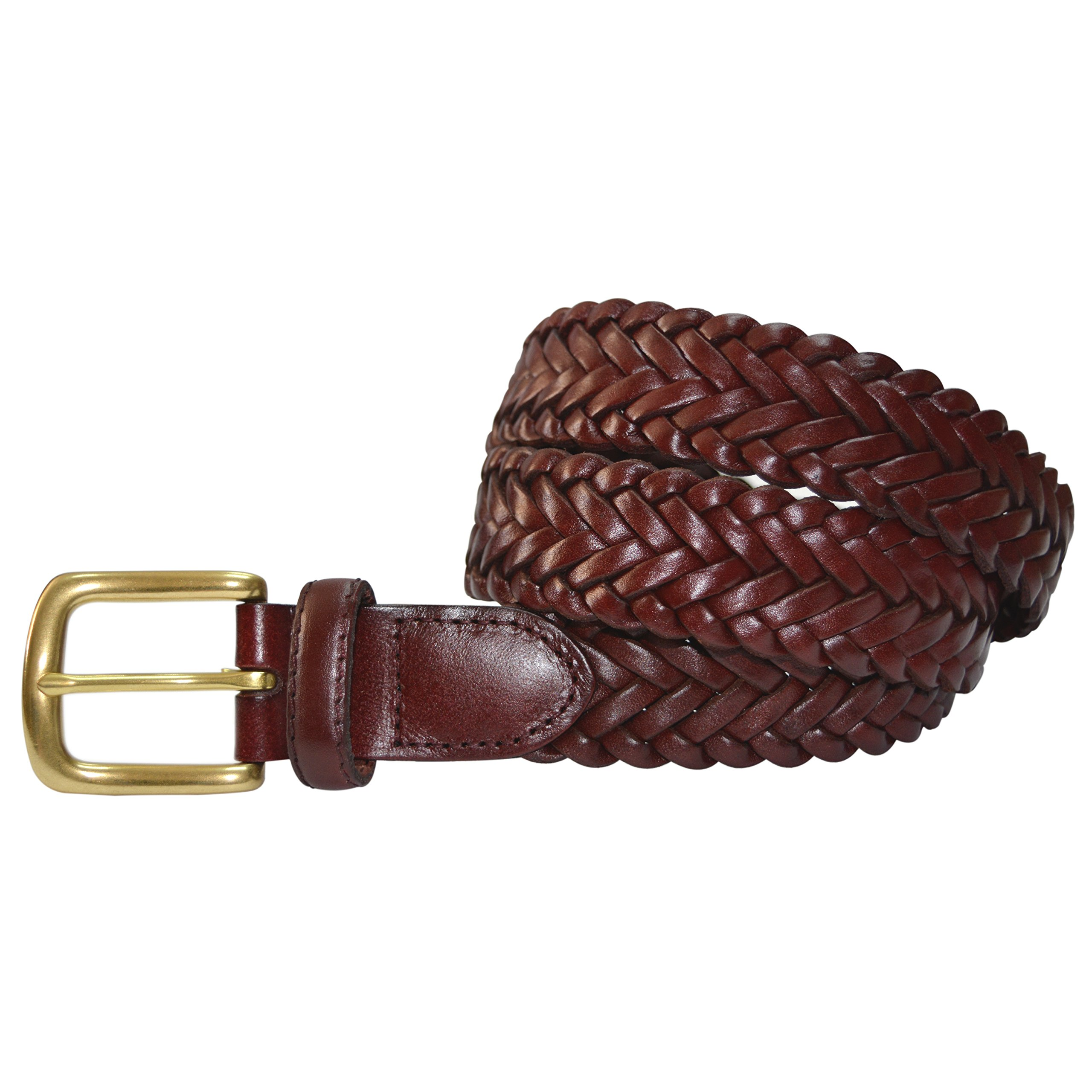 796-OXB-38 - Toneka Men's Casual Woven Full-grain Braided Leather Belt with Solid Brass Buckle by Toneka