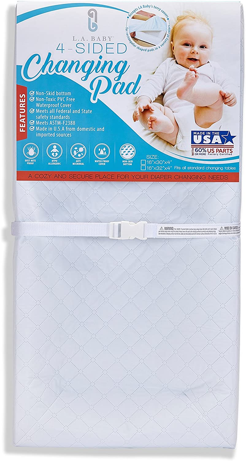 LA Baby 4 Sided Changing Pad, White, 32 by LA Baby