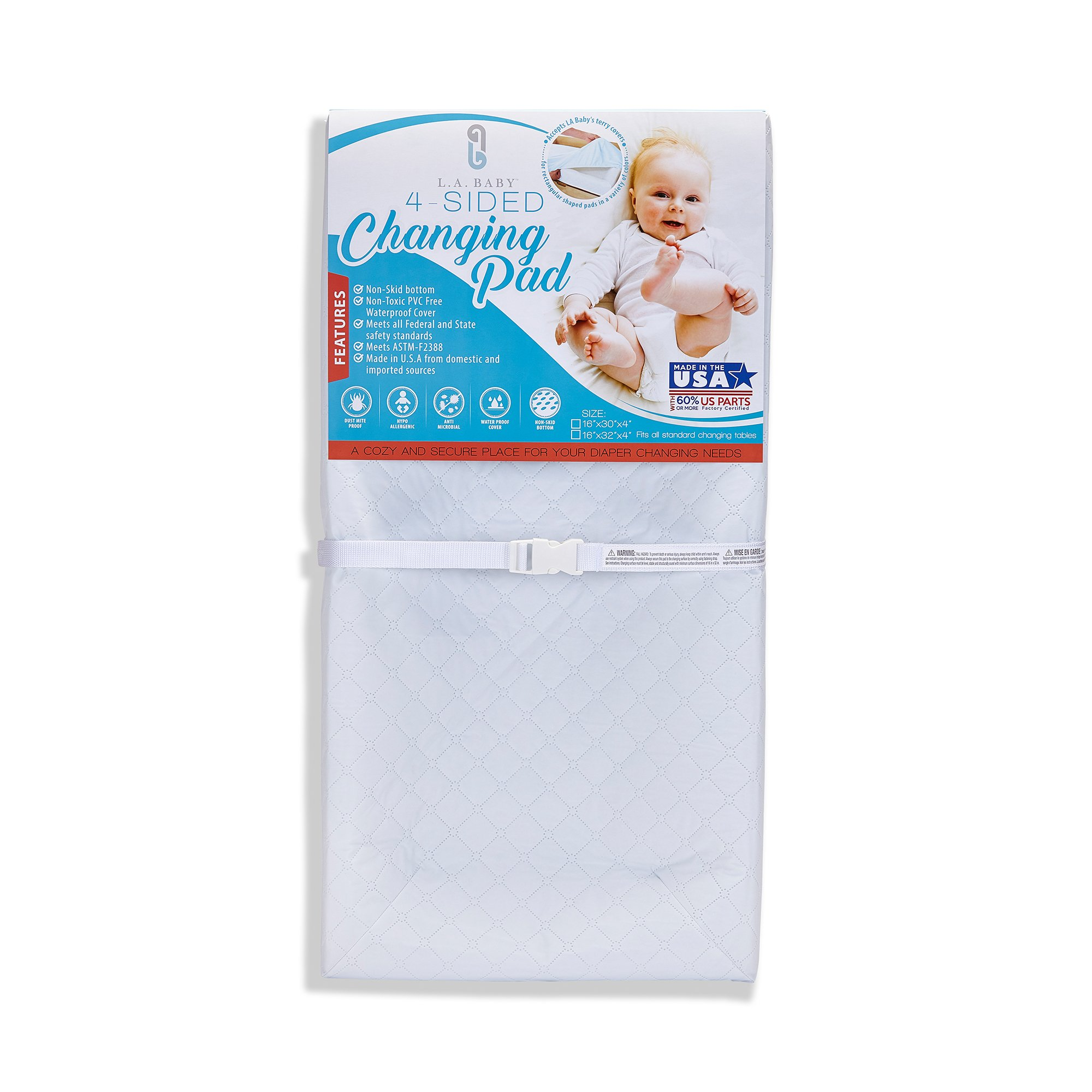 LA Baby Waterproof 4 Sided Changing Pad, 32'' - Made in USA. Easy to Clean W Non-Skid Bottom, Safety Strap, Fits All Standard Changing Tables/Dresser Tops for Best Infant Diaper Change