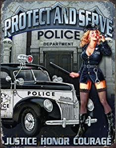 MAIYUAN Police Department Protect and Serve Metal Tin Sign Vintage Wall Art Decor 12 x 8 inches