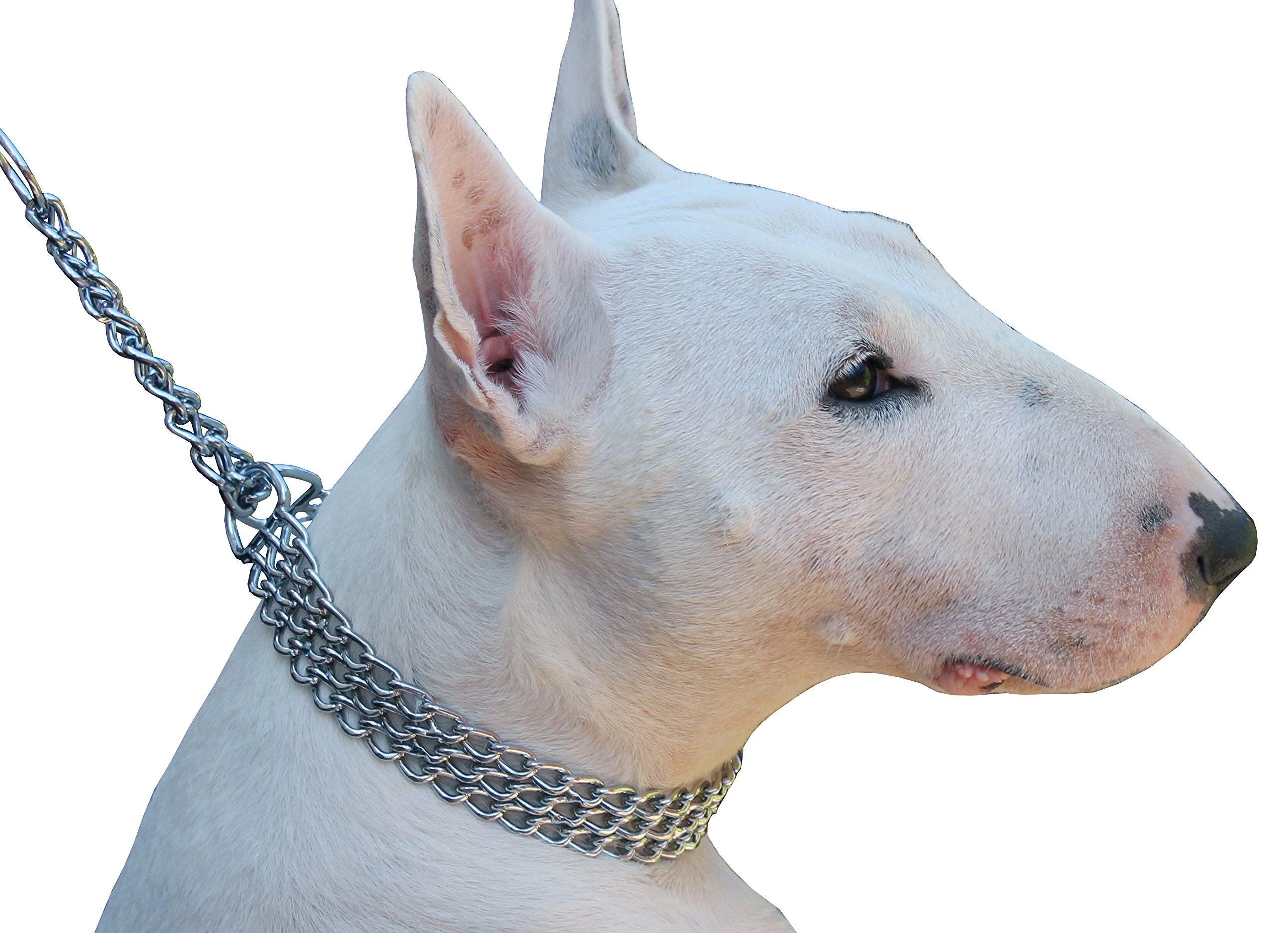 Triple Chain Martingale Dog Collar 2.5mm Link Chrome (19''-22'')