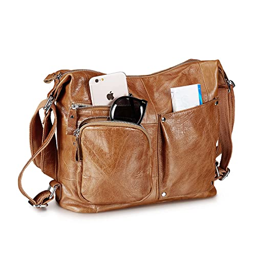 5132f6d6e6 Lecxci Womens Large Soft Leather Crossbody Travel Bag Hiking Day Backpacks  Sling Shoulder Purse (Tan
