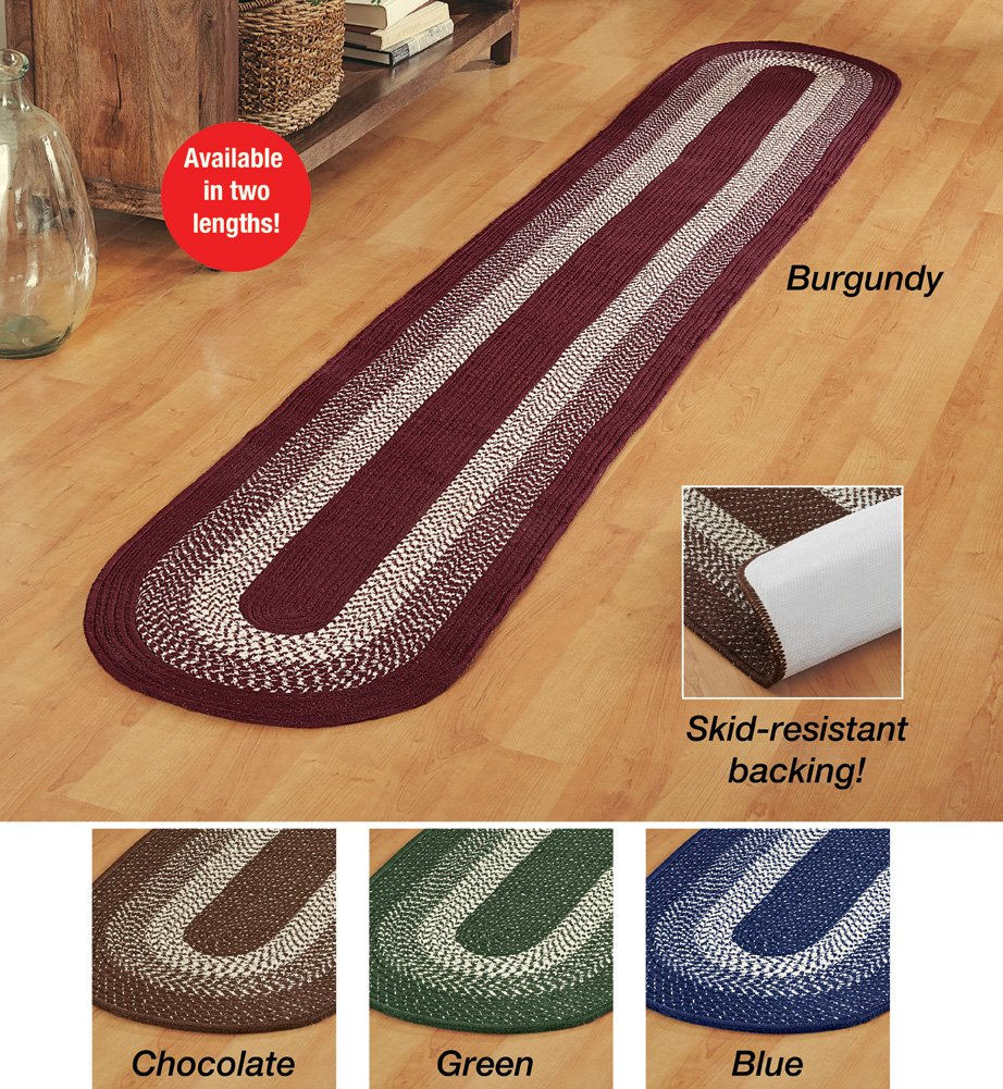 Collections Etc. Traditional Long Braided Runner Rug for the Hallway, Kitchen, Entryway, Burgundy, 20 X 120