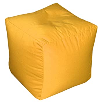 Sensational Square Cube Bean Bag With Filling Kids Pouffe Foot Stool Beanbag Extra Seat Yellow Evergreenethics Interior Chair Design Evergreenethicsorg