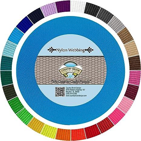 Country Brook Design® 5//8 Inch Ice Blue Heavy Nylon Webbing 50 Yards