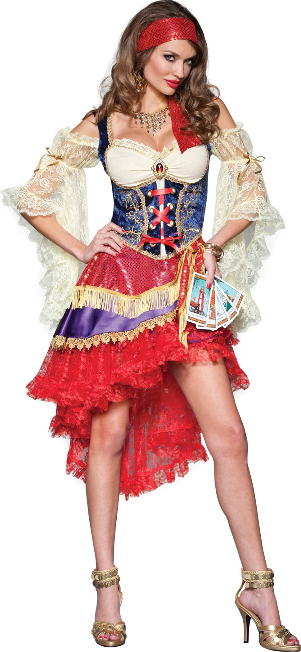InCharacter Costumes Good Fortune Gypsy Costume, Red/Tan/Blue, Medium
