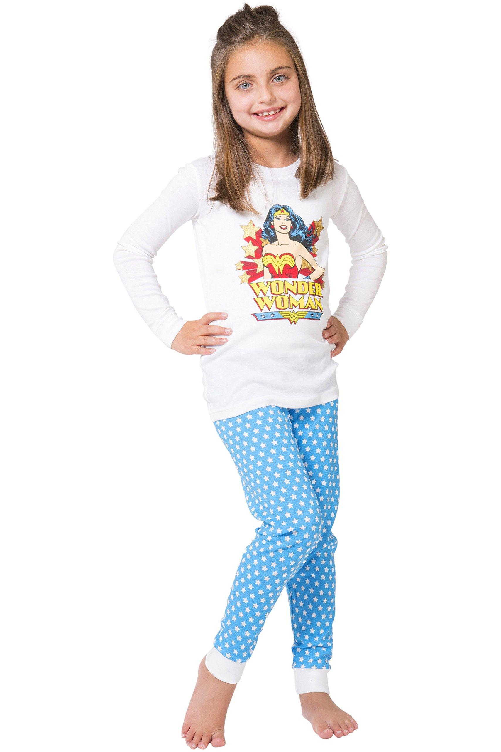 DC Comics Girls' Vintage Wonder Woman Cotton Pajama Set