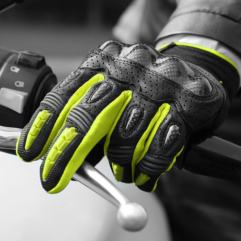 INBIKE Guantes De Moto con Funci/ón De Pantalla T/áctil Transpirable Guantes para Motocicleta con/Protecciones De Carbono En Los Nudillos IM803