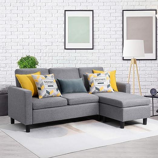Amazon.com: Walsunny sofá convertible con chaise reversible ...
