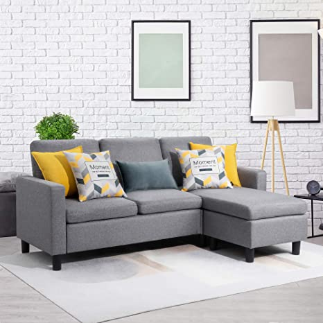 Remarkable Walsunny Convertible Sectional Sofa Couch With Reversible Chaise L Shaped Couch With Modern Linen Fabric For Small Space Dark Grey Gamerscity Chair Design For Home Gamerscityorg